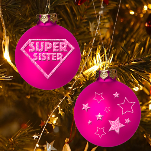 SUPER SISTER CHRISTMAS ORNAMENT