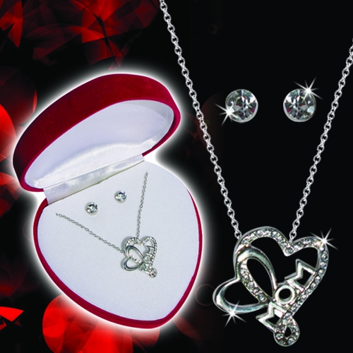 MOM OPEN HEART NECKLACE & EARRINGS SET