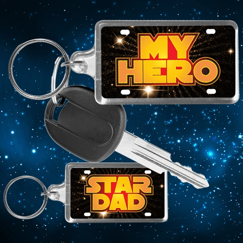 STAR DAD LICENSE PLATE KEYCHAIN